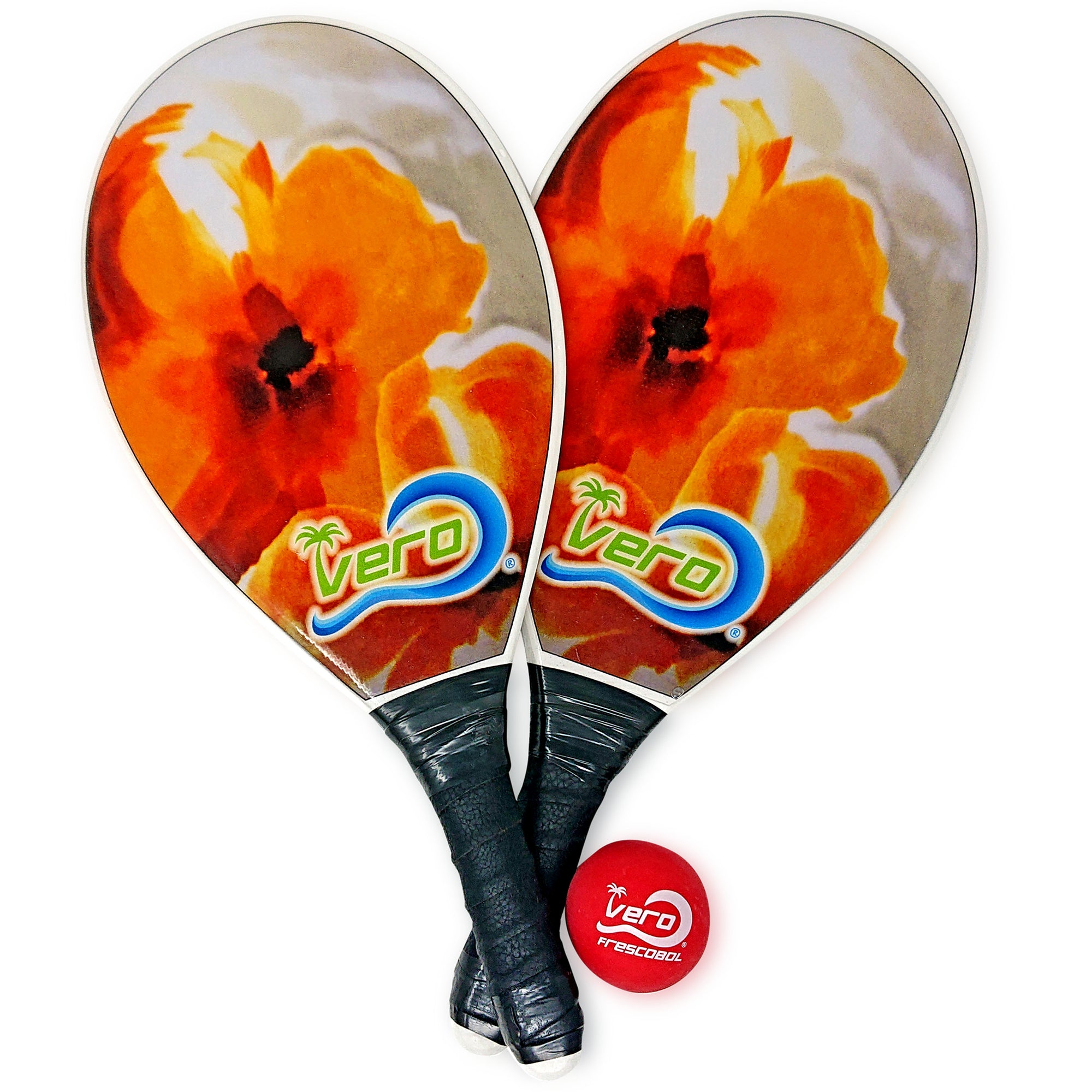 Frescobol Orange Lily Beach Paddle Kit