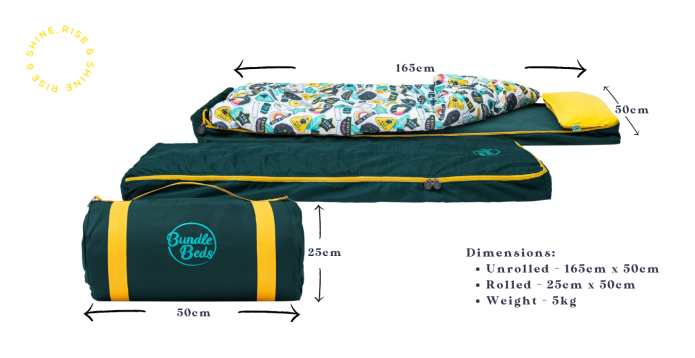 Dimensions of the Tot-2-Ten Kids' Travel Bed