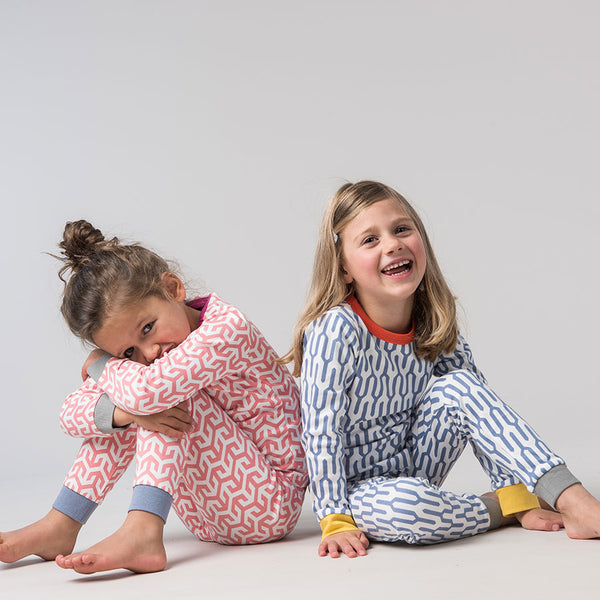 Christmas pajamas for the Christmas Eve box: Bernie and the Beanpole pajamas with geometric prints and pops of colour