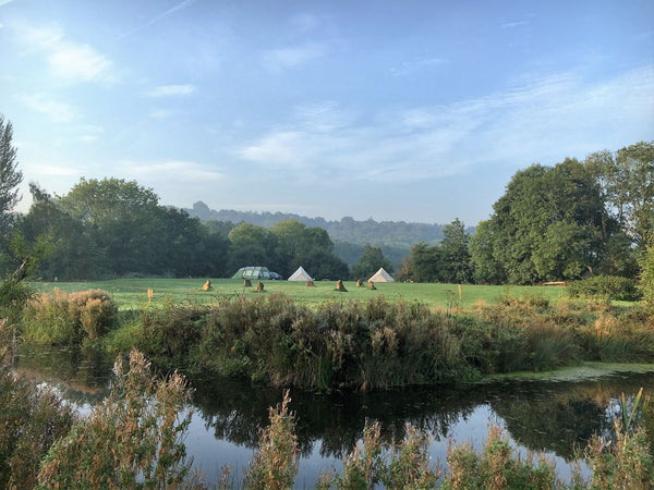 The moat at Cotswolds Camping in Holycombe