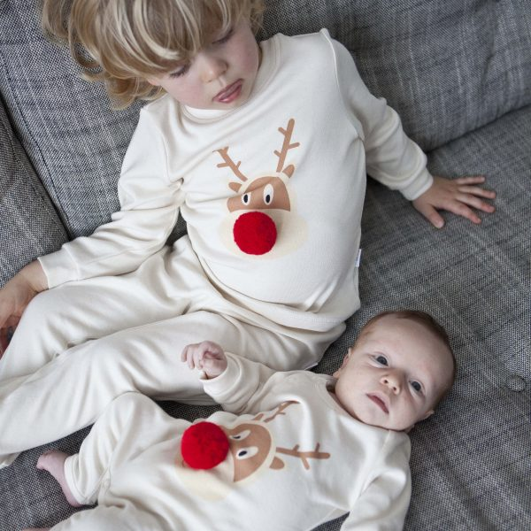 Christmas pajamas for the Christmas Eve box: PJ Mamma matching sibling set of reindeer pajamas and romper