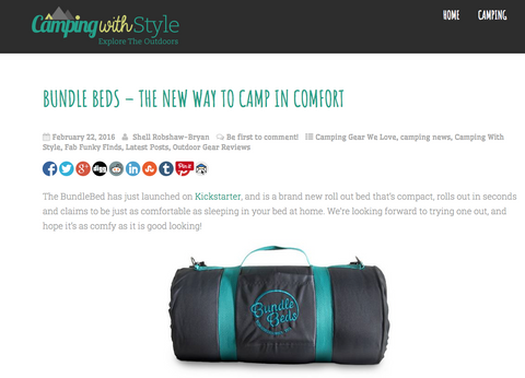 Screenshot of Bundle Beds article on the Camping With Style Website