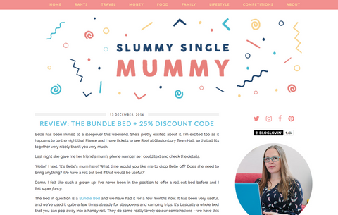 Screenshot from the Slummy Single Mummy blog article
