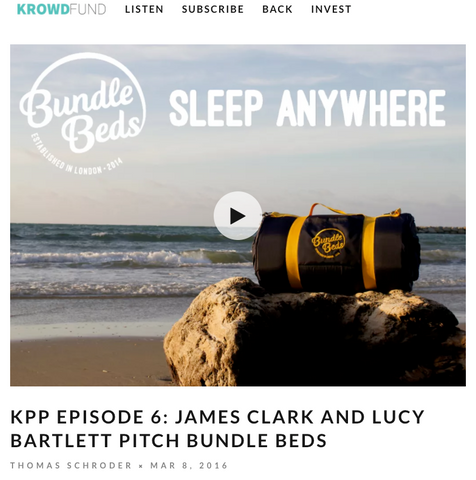 Screenshot of the Krowd Fund website with a photo of a Bundle Bed on top of a beach rock