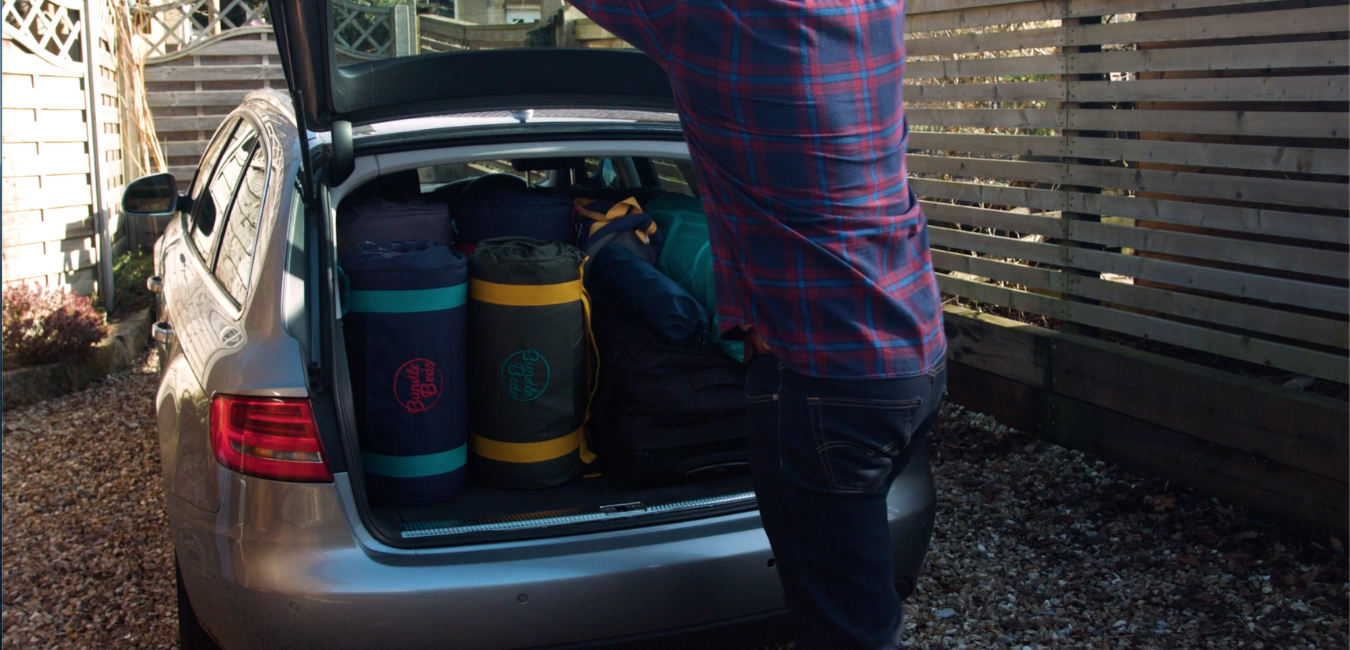 Two Tot-to-Ten Toddler Travel Beds fit easily and neatly into the boot of a car