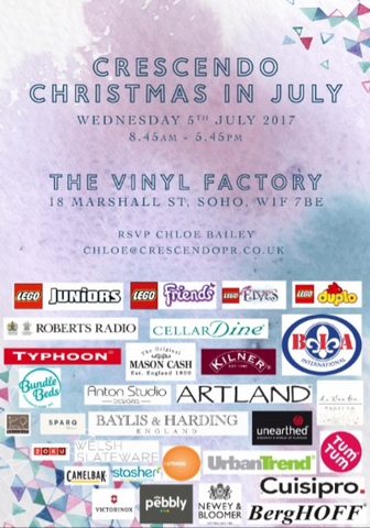 Promotional poster for Crescendo PR's Christmas in July exhibition
