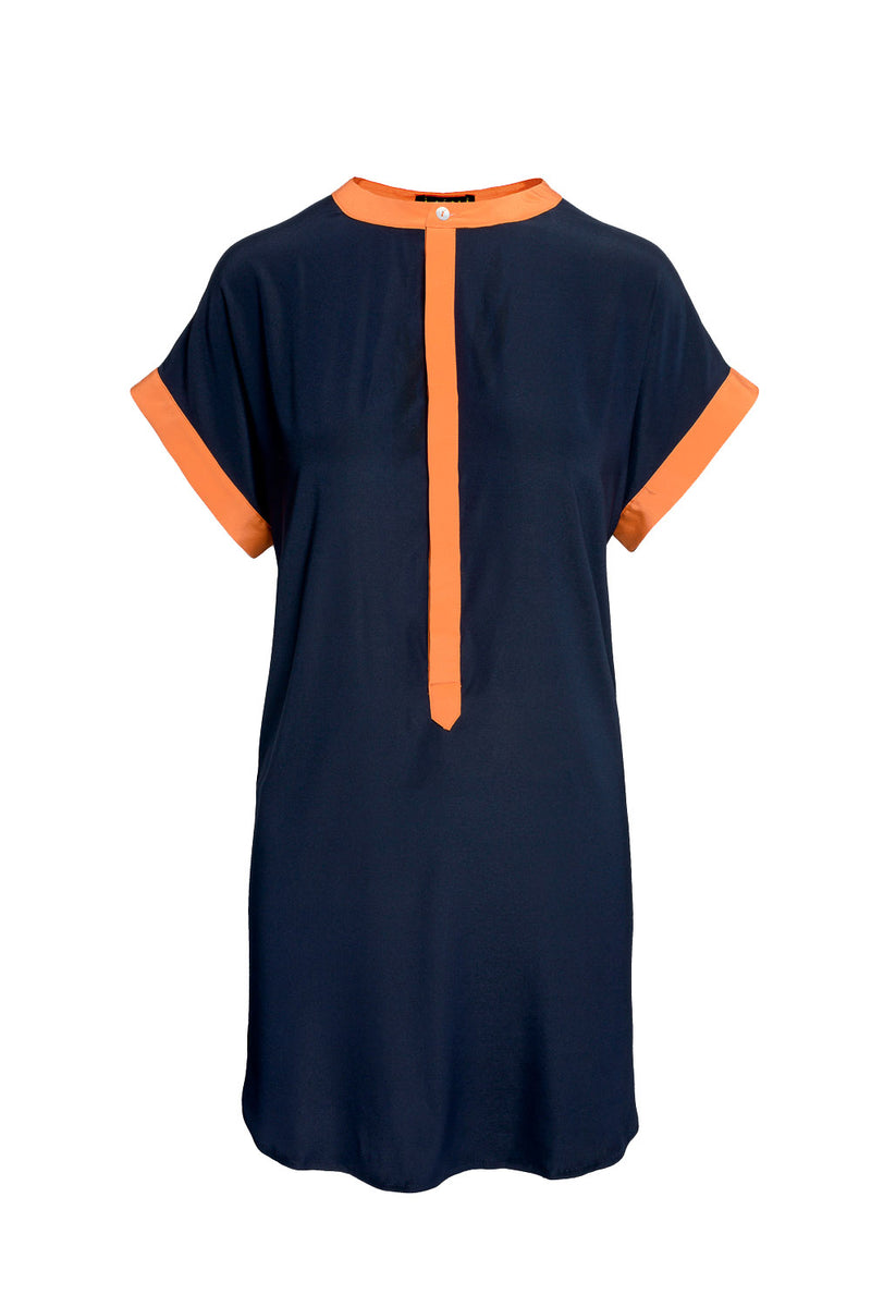 Blue Orange Silk Shirt Dress