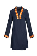 Elegant Blue Silk Tunic Dress with orange satin trim