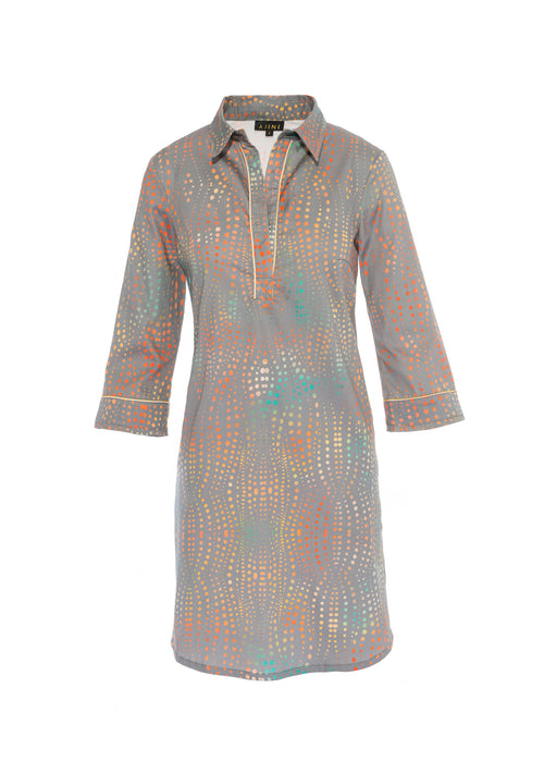 Wavy Print Pull Over Shirt Dress