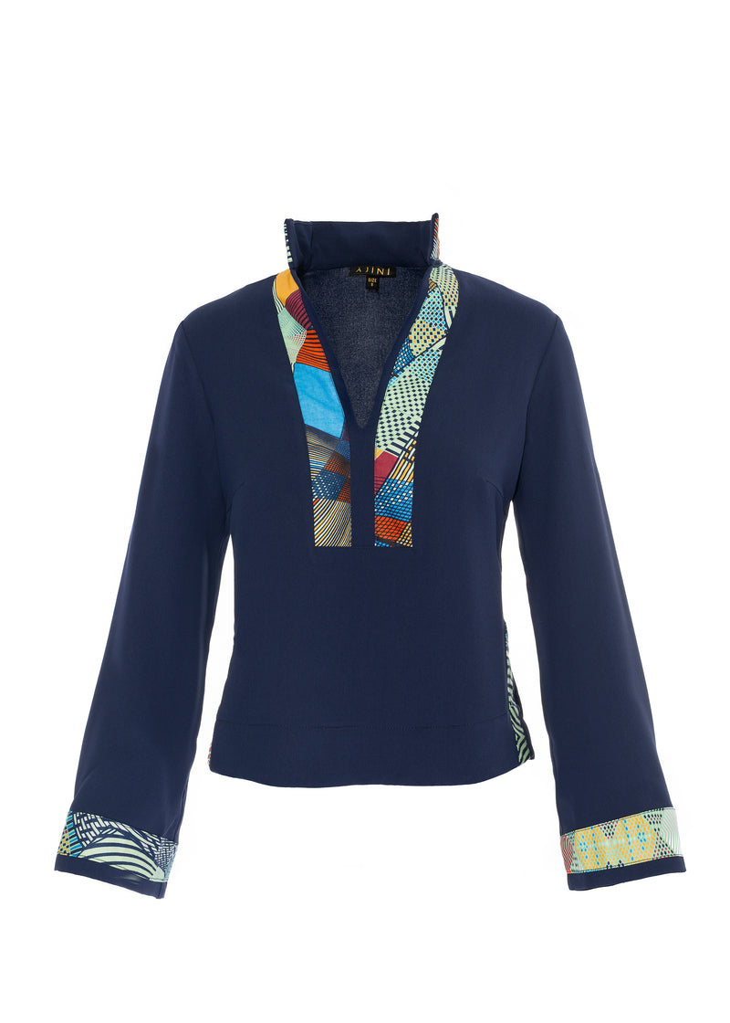 Navy Blue Blouse with African Print