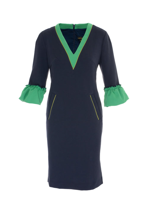Navy and Apple V Neck Dress with pockets