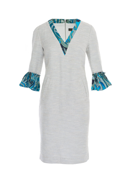 Linen Blend Dress with African Print