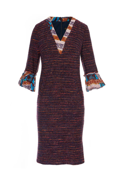 Navy and Burgundy Boucle Dress with African Print