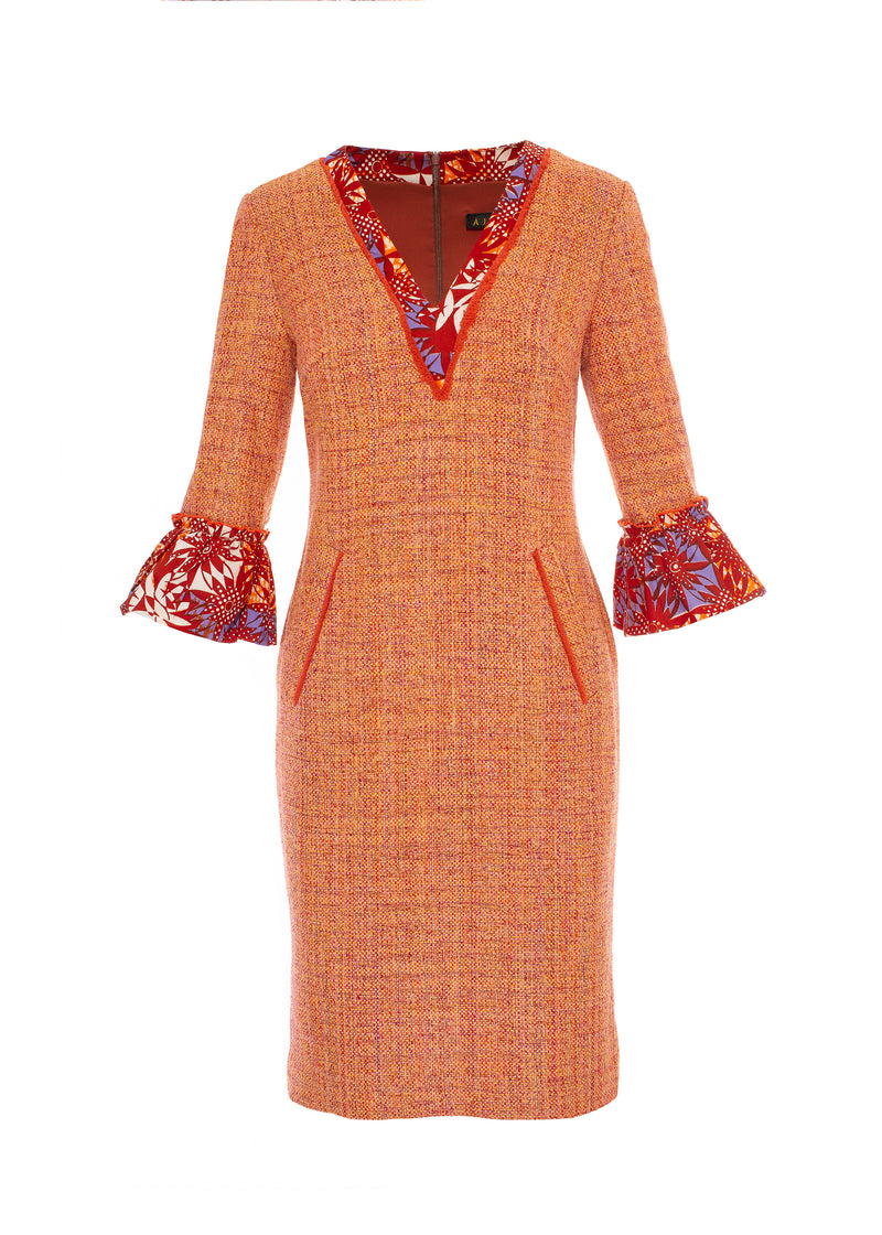 Silk Tweed Dress with African Print