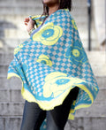 Teal and yellow silk and cashmere scarf