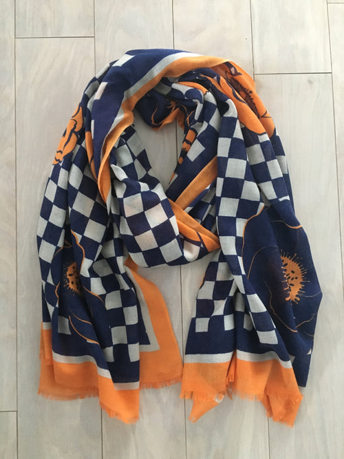 Blue Orange silk and cashmere scarf
