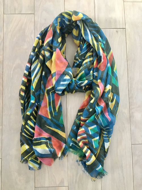 Multicolor silk and cashmere scarf