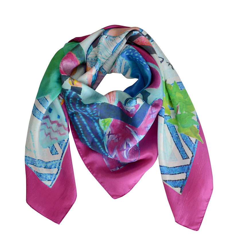 SBG COLLECTION Scarf Bleu Market Silk
