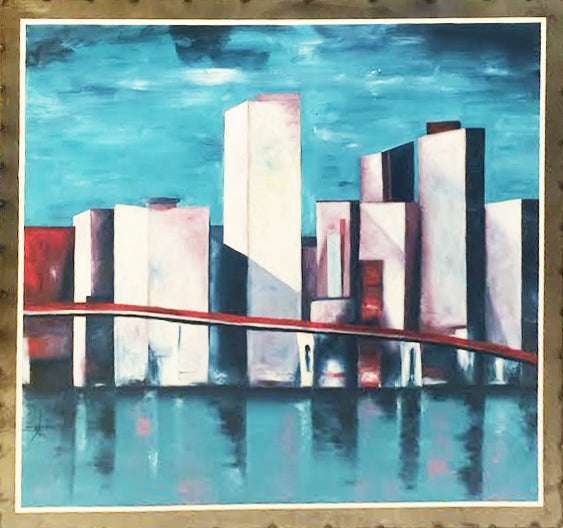 Ignace Nikoue Oil Painting on Steel Large Miami City