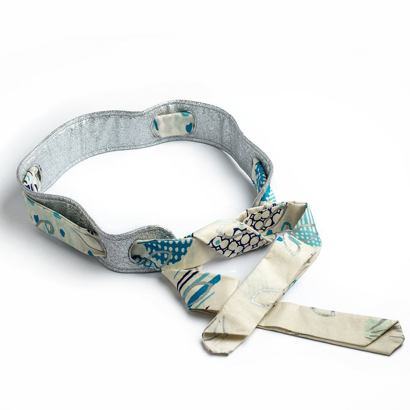Margouillat Couture Belt Silver Blue Beige