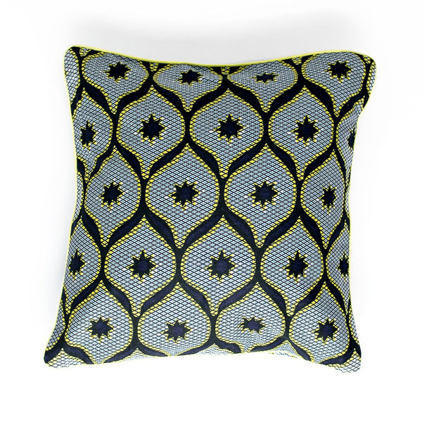 Margouillat Couture Cover Pillow Black Star Yellow Fluo