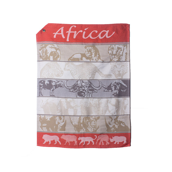 African Jacquard Tea Towel African Safari Orange
