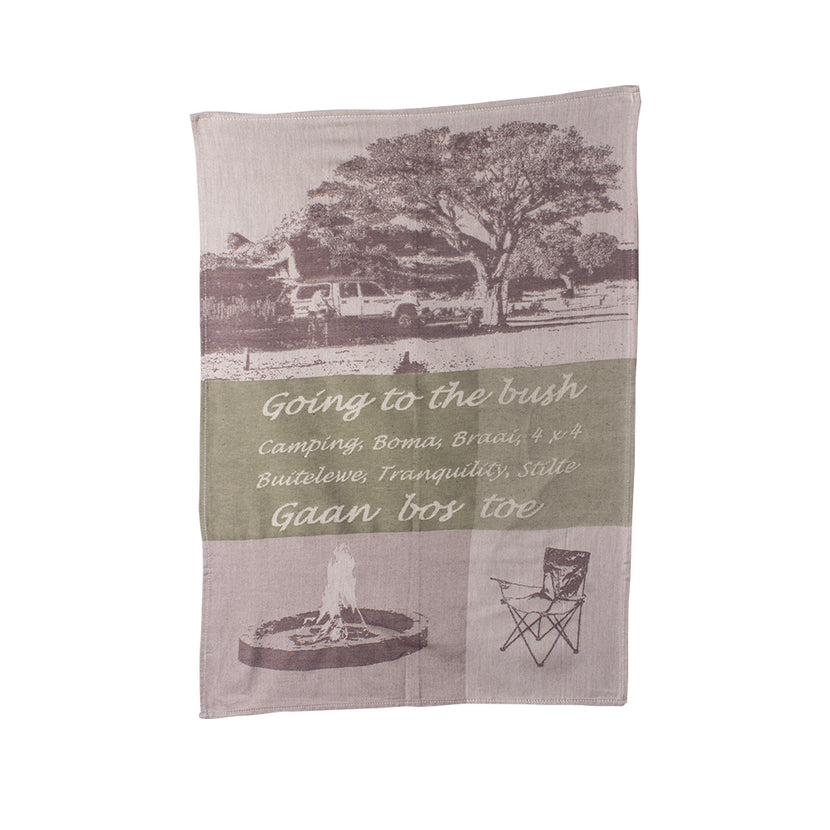 African Jacquard Tea Towel Going to the Bush Beige
