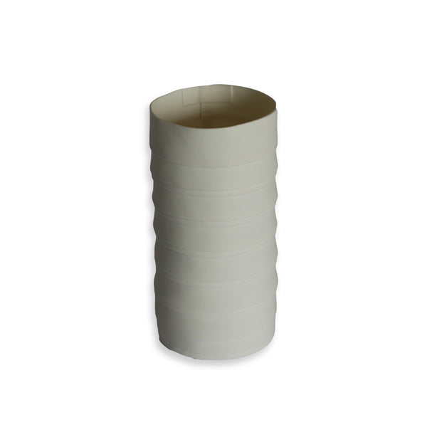 Lisa Firer Vase White Pleated Cylinder Medium - 12
