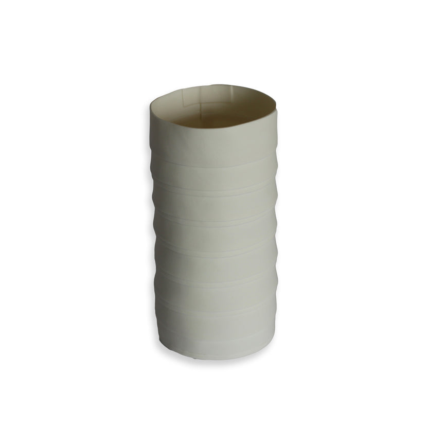 Lisa Firer Vase White Pleated Cylinder Medium