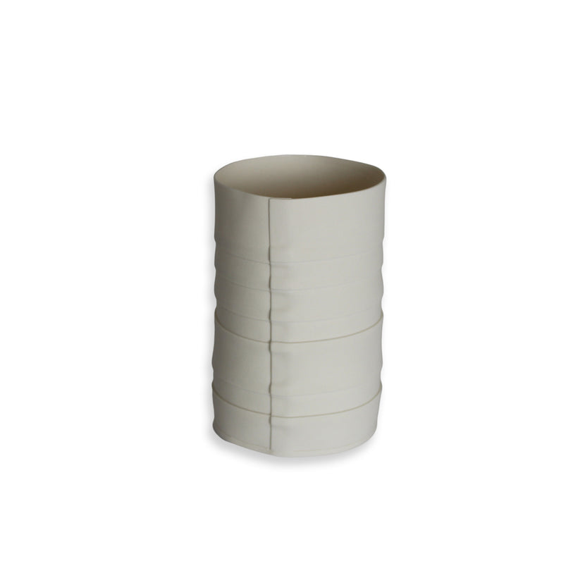 Lisa Firer Vase White Pleated Cylender Small -11