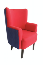Nassara Design Armchair DG-Faso Danfani in the Back Downgraded Red Blue