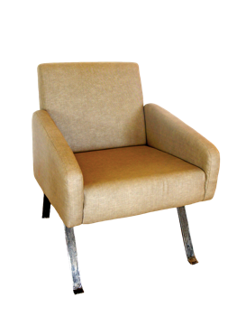 Nassara Design Armchair Vintage Leg Steel Downgraded Cotton Steel Beige