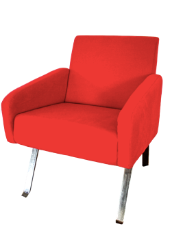 Nassara Design Armchair Vintage Leg Steel Downgraded Cotton Steel Red