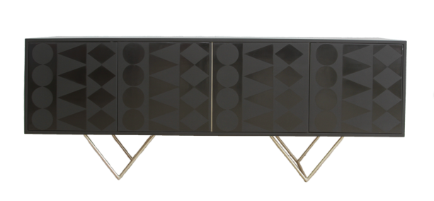 Nassara Design Buffet Tiebele Buffet Downgraded Wood Black Gold