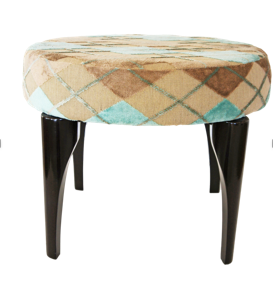Nassara Design Stool Spider Fabric Mastic Downgraded Cotton Wood turquoise beige