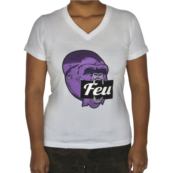 FEU Woman White T-Shirt Gorilla Purple