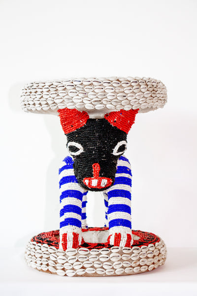 BAMILEKE Stool Beaded Cowris Square Blue & Red from Cameroon