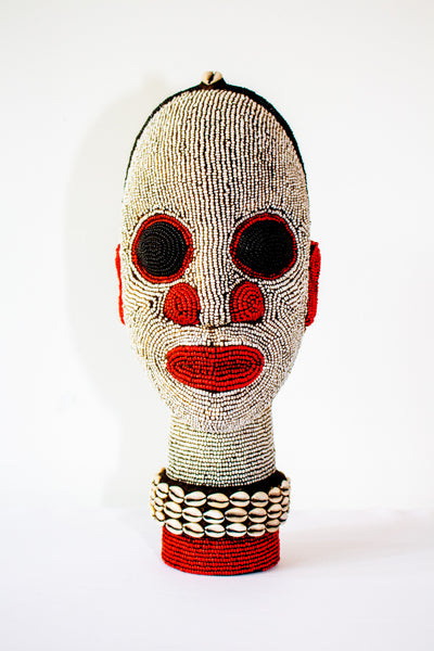 African Beaded Head Black and Red from Cameroon