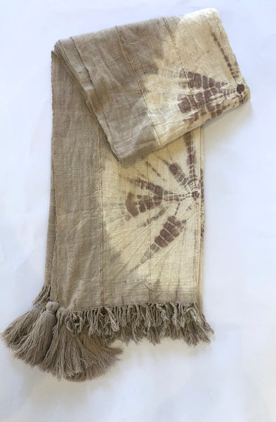 Nassara Design Plaid Tie & Dye Traditional Cotton Beige