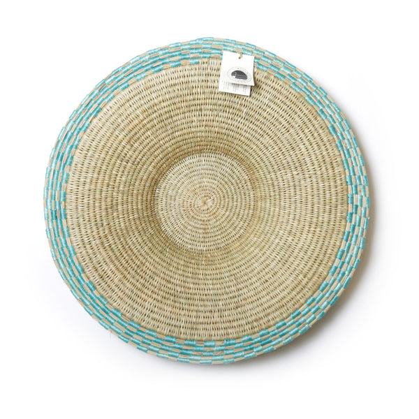 Gone Rural Block Waves Basket Turquoise
