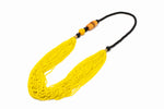 Iniva Market Necklace Leather Beads Yellow