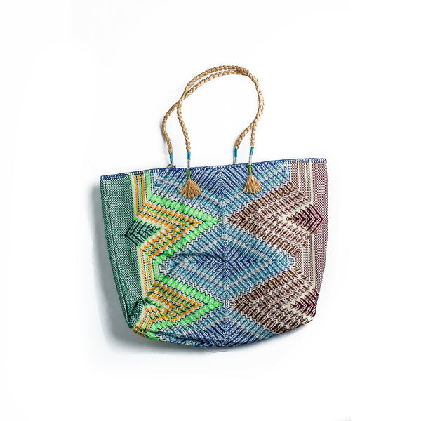 Enshallah Shopping Bag Blue Yellow Green Brown