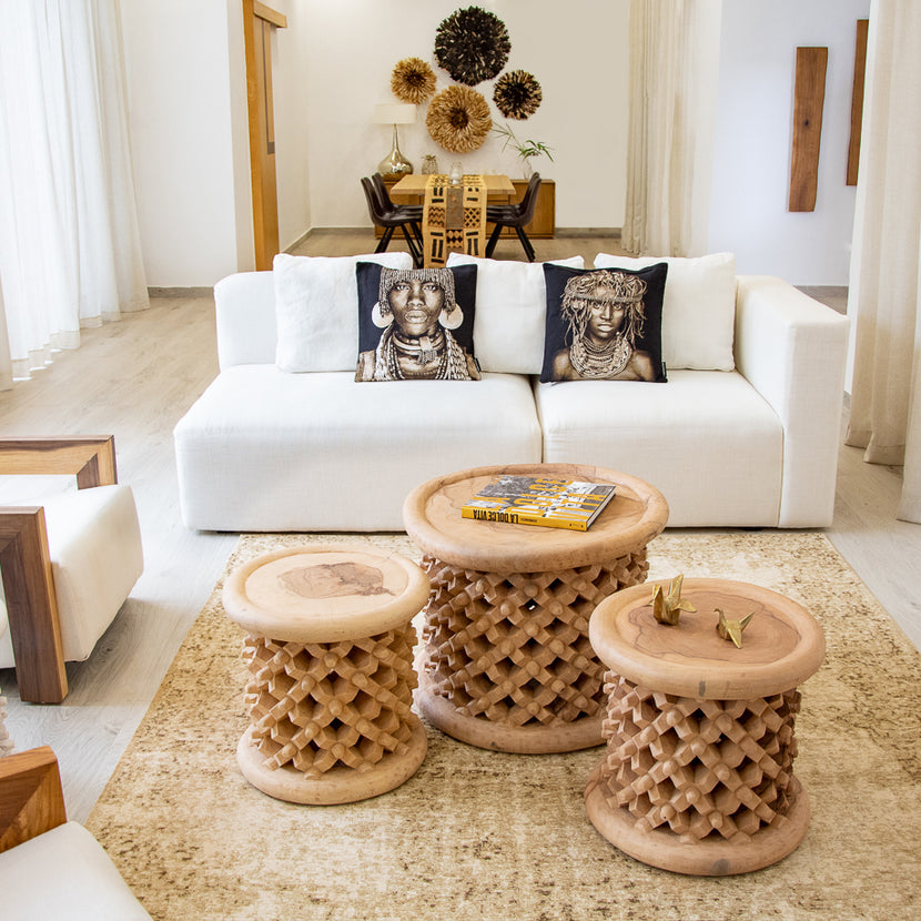 Bamileke Stool Natural Wood