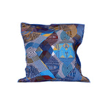 Nassara design Cover pillow African Fabric Wax Geometrical Blue White