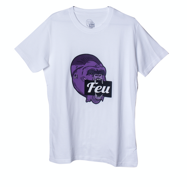 FEU Men White Shirt Gorilla Purple