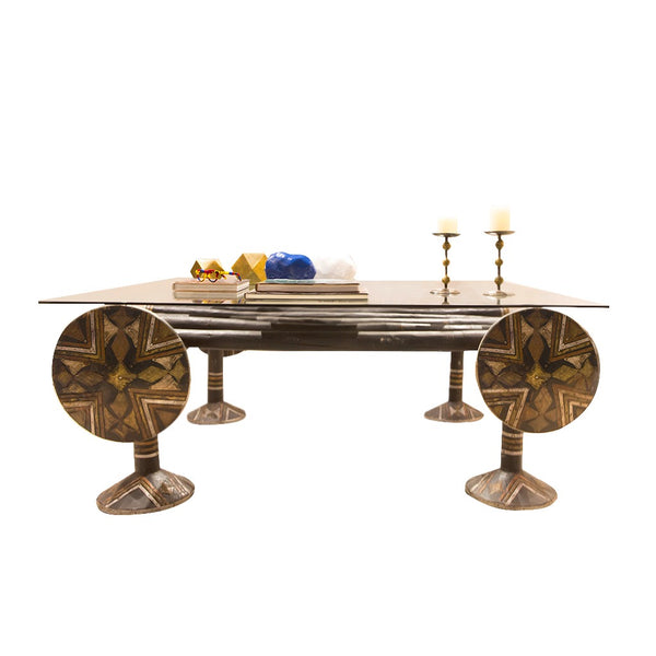 Iniva Traditional Touareg Bed Table Wood Copper with glass