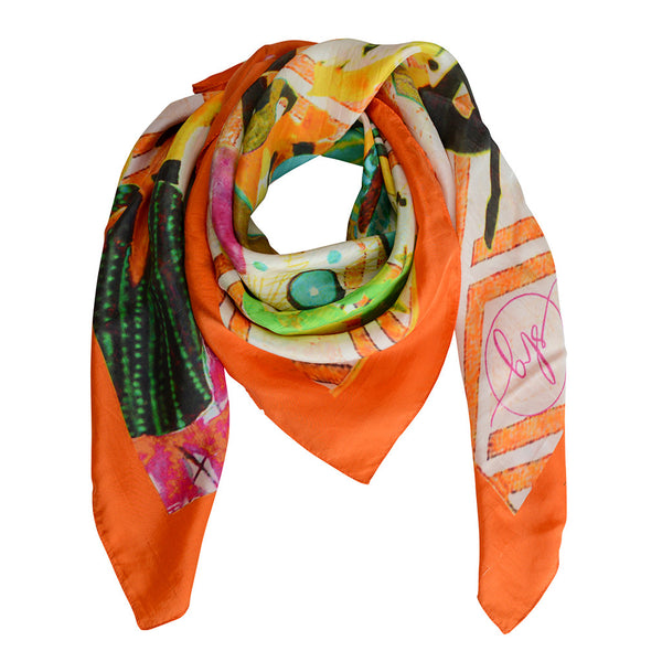 SBG COLLECTION Scarf Silk Orange Market