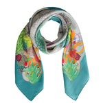 SBG COLLECTION Scarf Pineapple Silk Petrol Grey