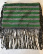 Nassara Design Clutch with Fringe & Zipper Green Silver