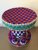 BAMILEKE Stool Beaded Cowris Blue & Green from Cameroon